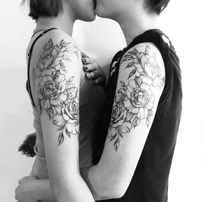 three roses, shoulder tattoos, cute matching tattoos, black and white photo