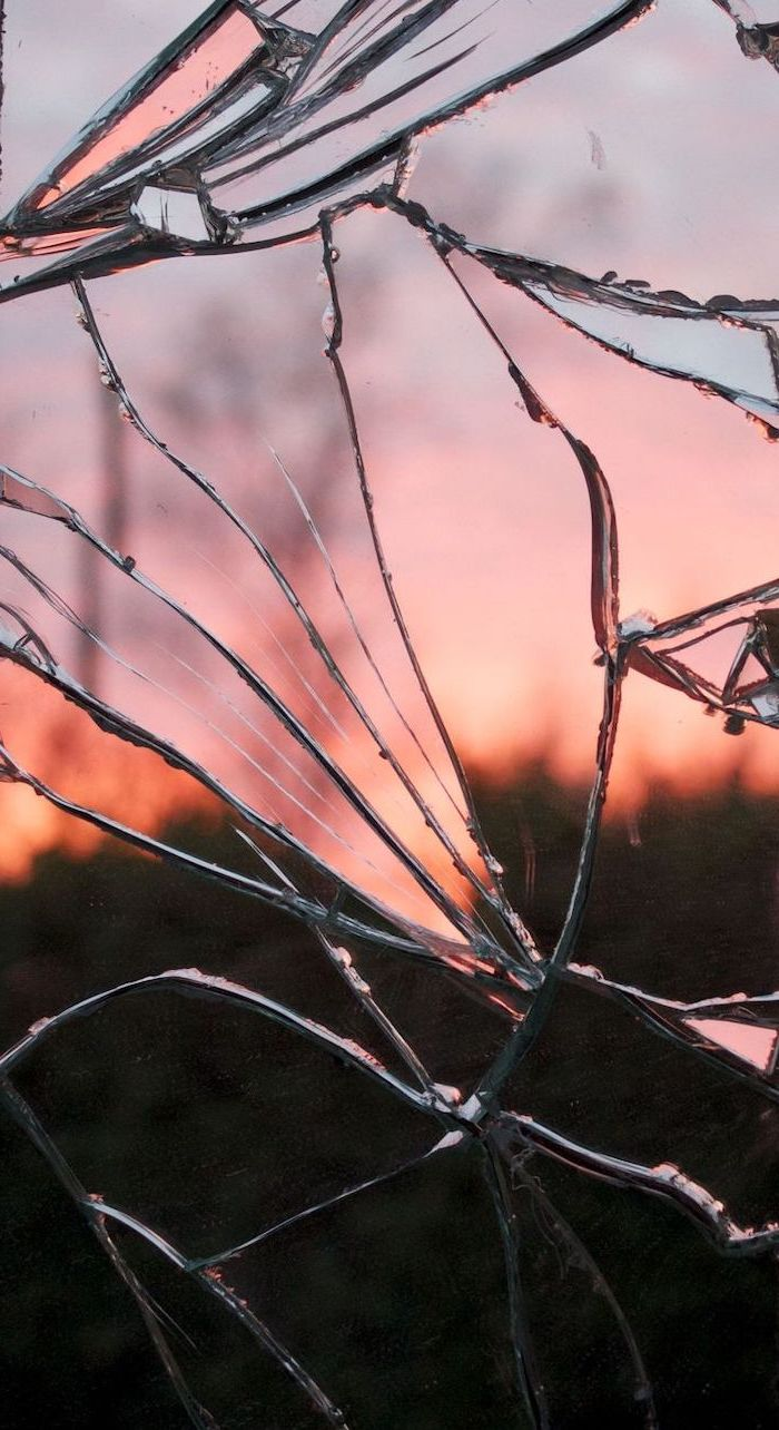 shattered glass, orange sunset, summer iphone wallpaper