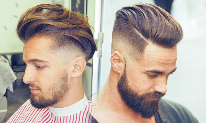 blonde hair, brown beard, side by side photos, trendy haircuts for men