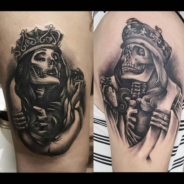 king and queen skeletons, with crowns, cute matching tattoos, shoulder tattoos