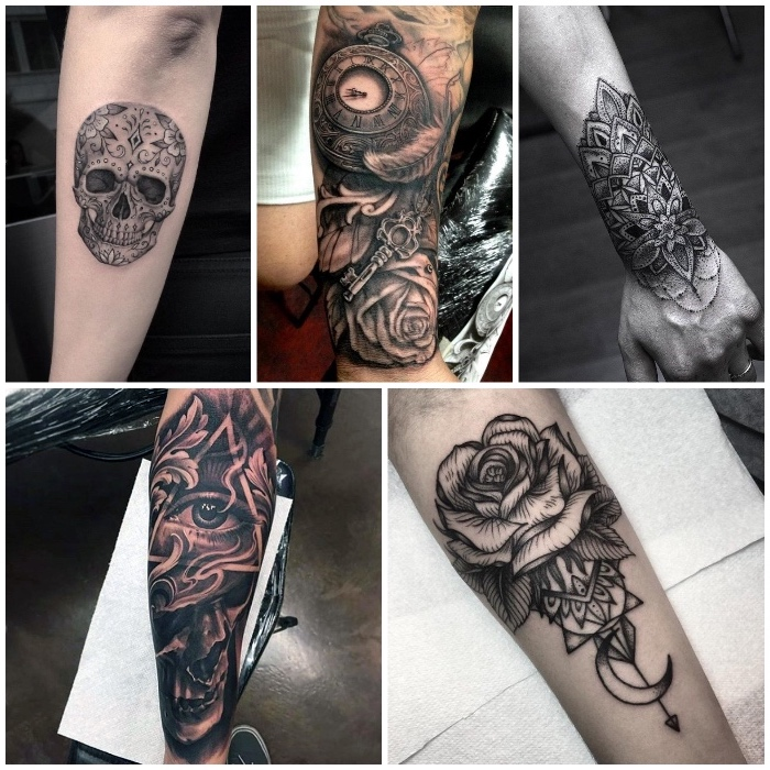 forearm tattoos, side by side photos, roses and mandala tattoos, skull and pocket watch