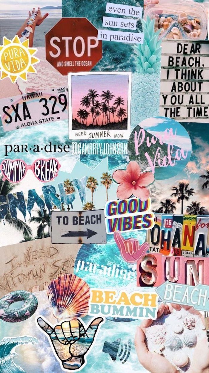 summer inspired, photo collage, aesthetic iphone wallpaper, quotes about the beach