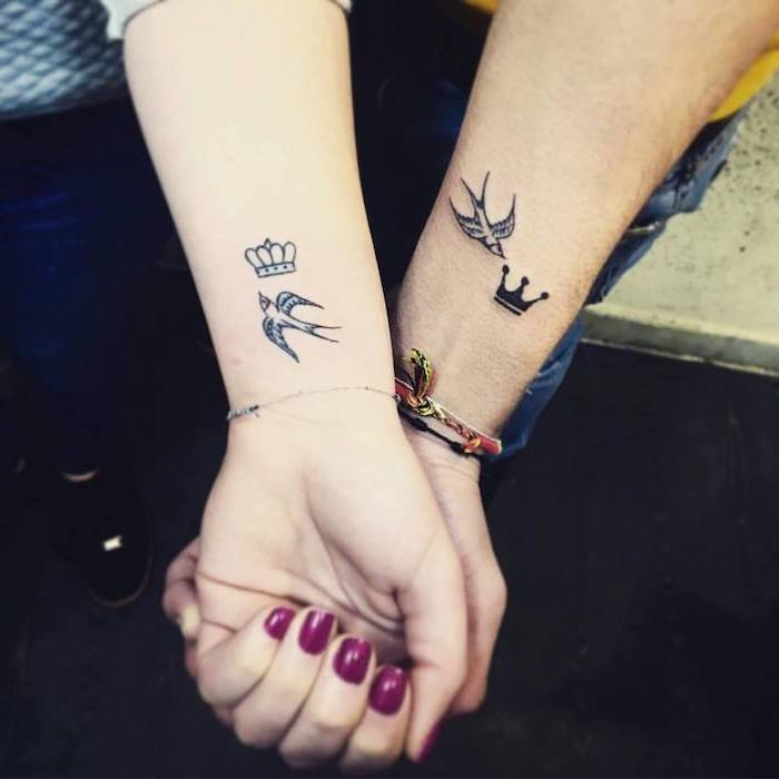swallow flying, king and queen crowns, wrist tattoos, married couple tattoos