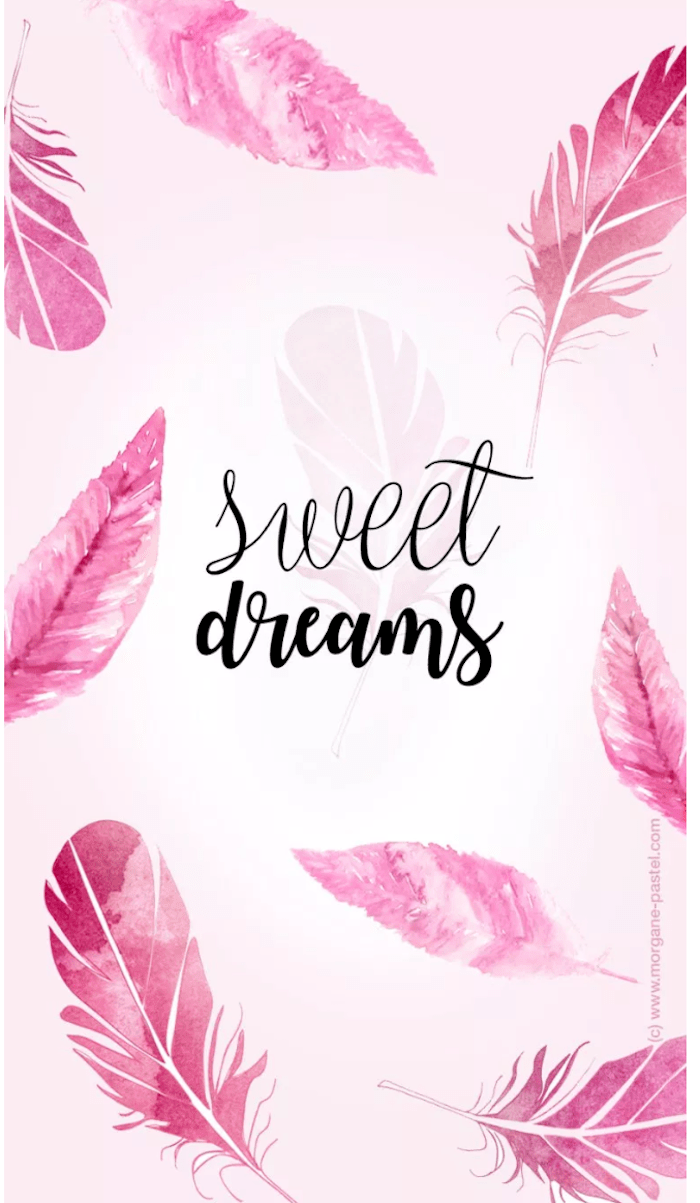 sweet dreams, aesthetic iphone wallpaper, pink feathers