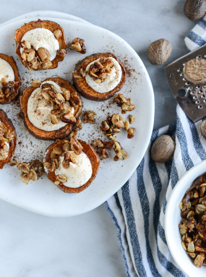 sweet potatoes, with cream cheese and nuts, vegetarian super bowl recipes, in a white plate