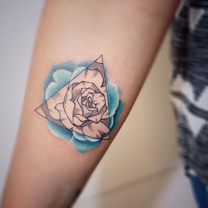 small arm tattoos, geometrical rose, blue watercolour, white background