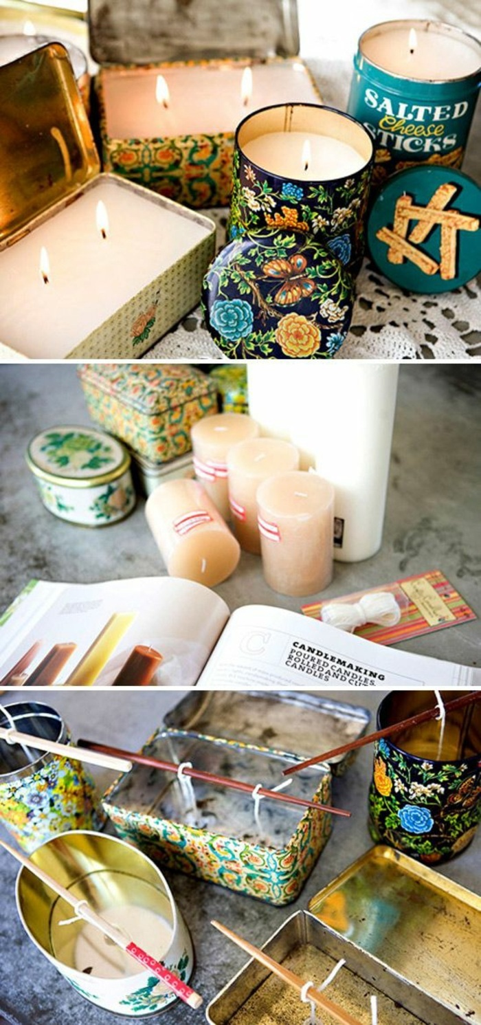 vintage tin boxes, filled with candle wax, make your own candles, step by step, diy tutorial