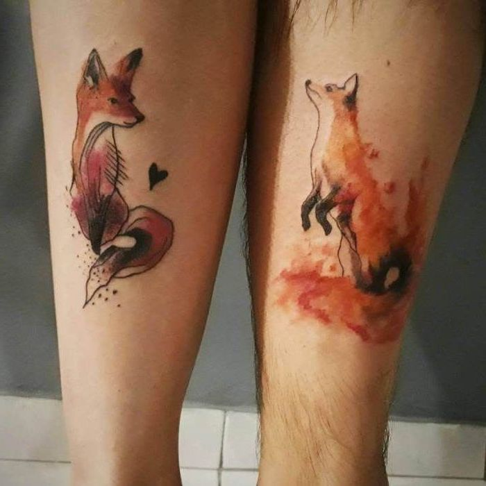 watercolour foxes, back of leg tattoos, boyfriend and girlfriend matching tattoos, tiled floor