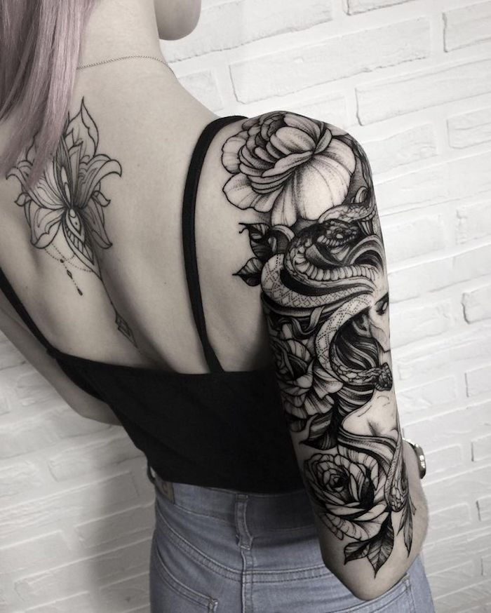 medusa head, with flowers, shoulder sleeve tattoo, what tattoo should i get, white brick wall
