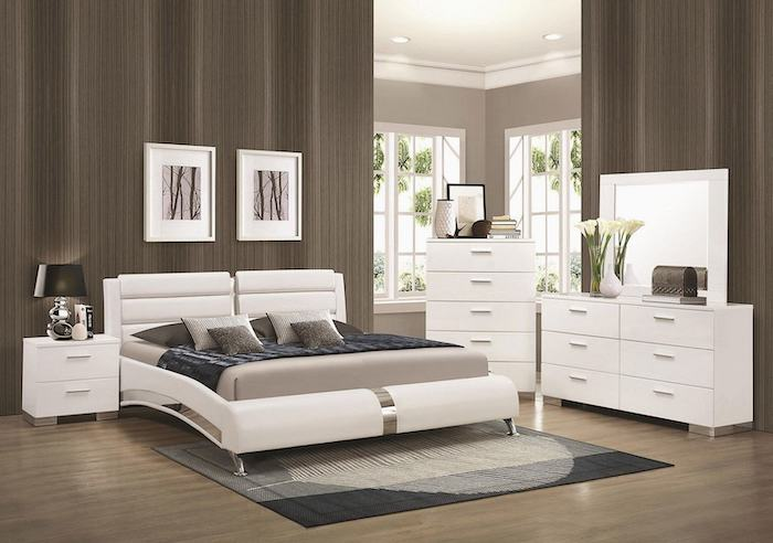 brown walls, white leather bed frame, pinterest bedroom, white drawers and night stand, wooden floor