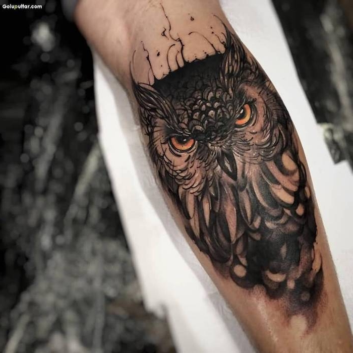 owl head, arm tattoos for men, white papers, blurred background