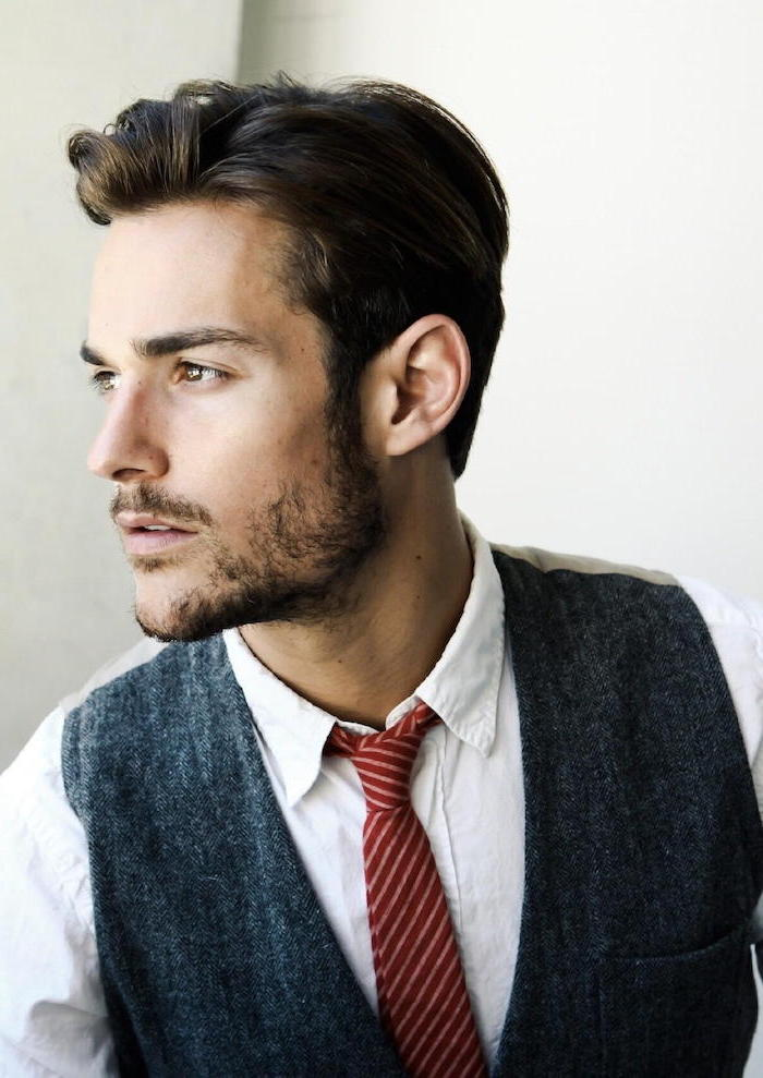 short hairstyles for men, white shirt, red tie, grey jacket, brown hair
