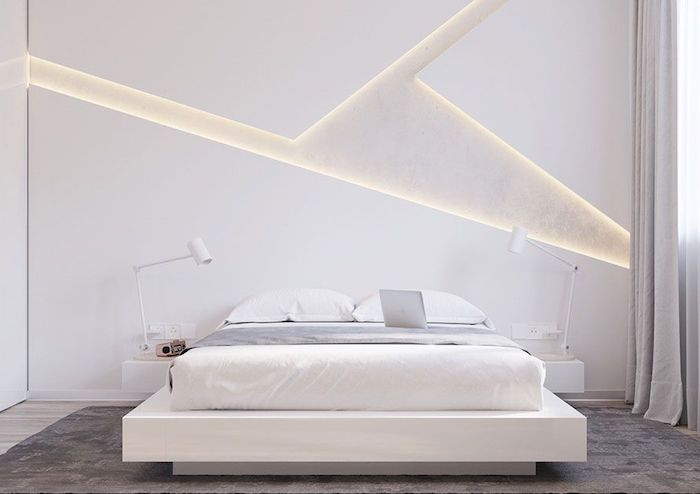 white wall,led lights, white bed frame, night stands, grey carpet, wooden floor, how to decorate a bedroom