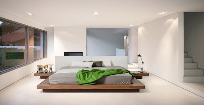 wooden bed frame and shelves, white walls and floor, bedroom wall ideas, white head board