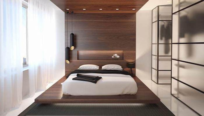 wooden floating bed frame, wooden wall and ceiling, led lights, master bedroom wall decor, black carpet