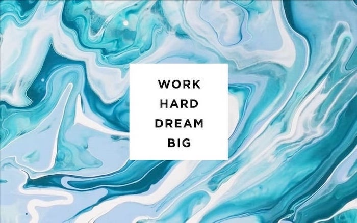 work hard, dream big, motivational quote, rose wallpaper phone, blue marble background