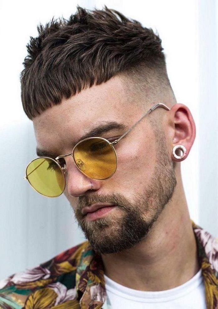 short brown hair, man wearing sunglasses, floral jacket, types of haircuts for men