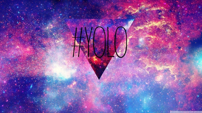 tumblr wallpaper quotes, yolo with hashtag, galaxy sky background