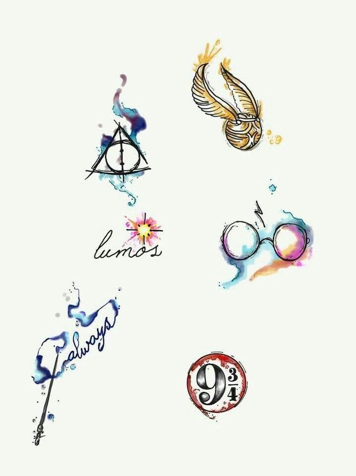 harry potter inspired, flower wrist tattoos, golden snitch, deathly hallows, white background