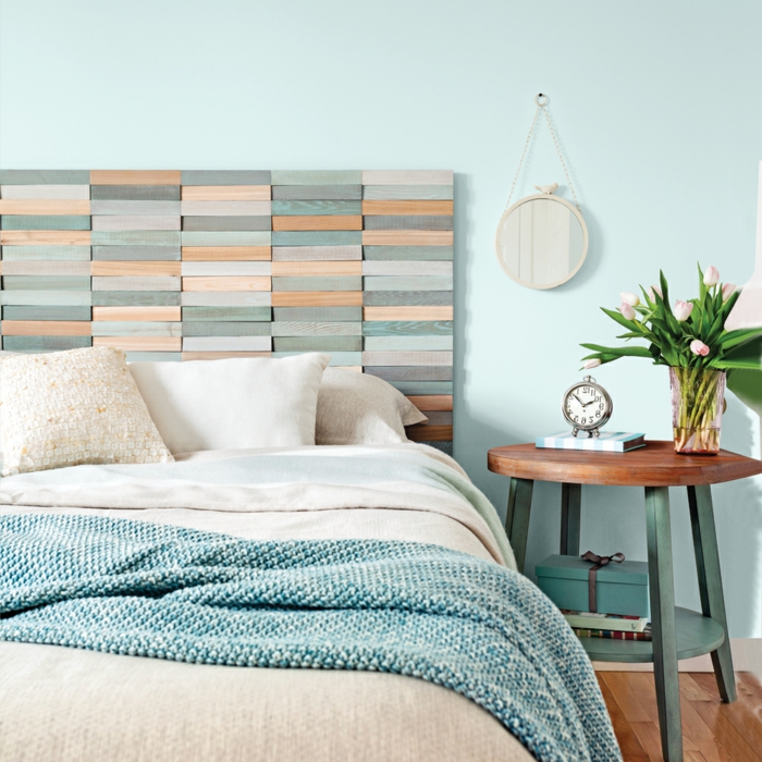 Cabecero Pintado En La Pared Latest Dormitorio En Tonos