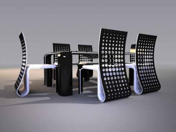 ensemble table et chaise futuristique
