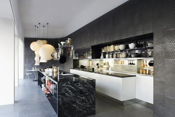 Cuisine Noir Plan De Travail Marbre Blanc Novocom Top