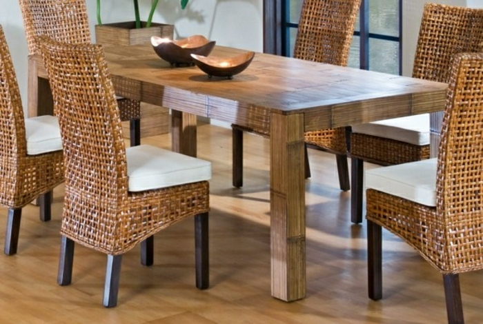 chaise en osier rotin design meubles de cuisine