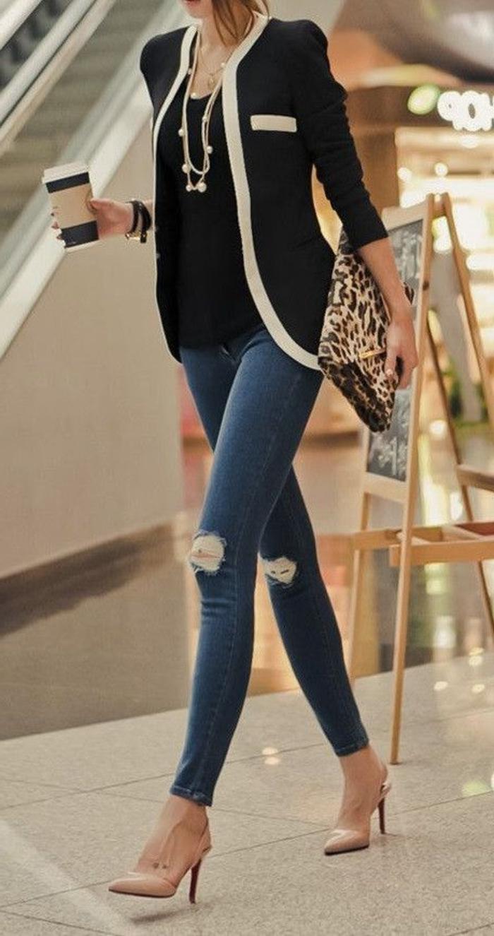 femme-de-class-tenue-de-soirée-chic-femme-comment-adopter-tenue-chic-femme-jean-veste-channel