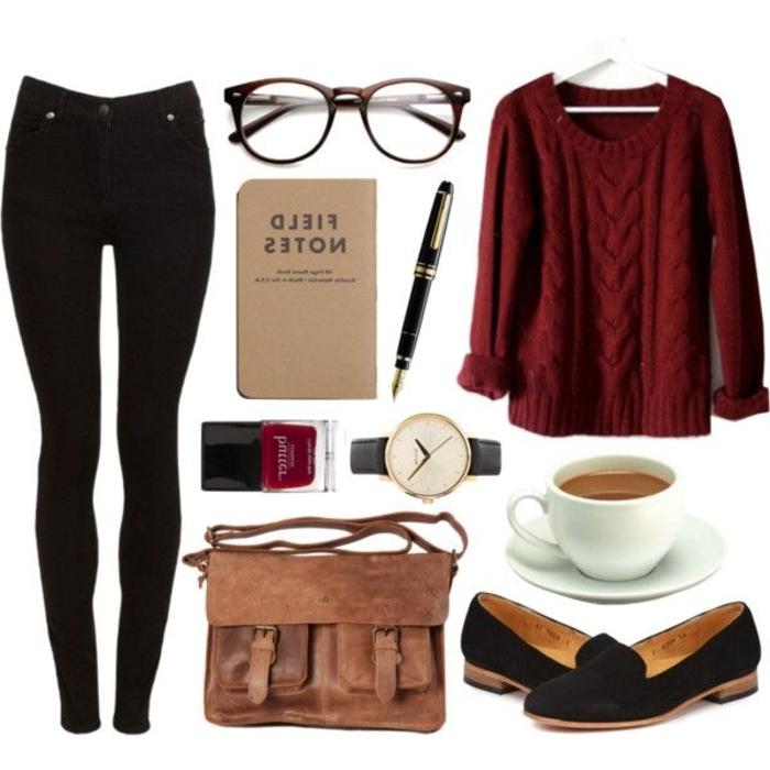 tenues-chics-geek-femme-tenue-de-jour-charmante-femme-stylée-idée-tenue-pour-la-rentrée