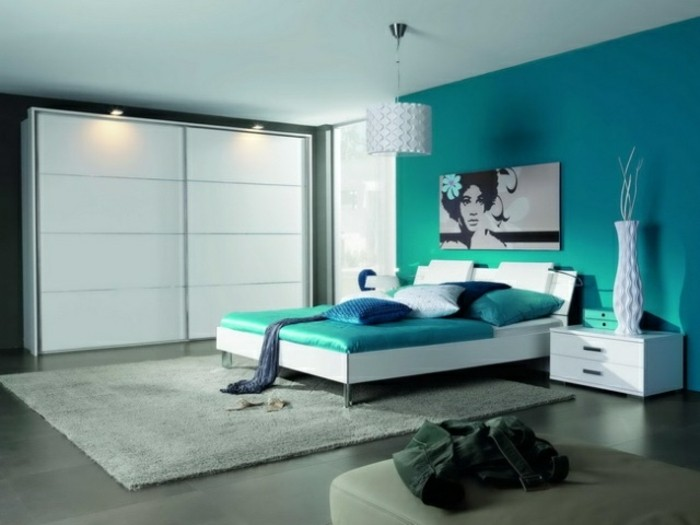 Chambre Gris Et Bleu Canard - Moston.top