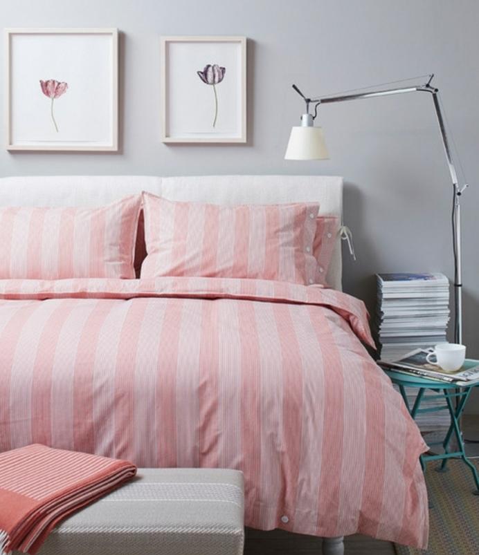 Chambre Rose Et Gris Couleur Mur Gris Perle Bout De Lit Gris Parure De Lit  Rose %C3%A0 Rayures Table Bleue Pliable Id%C3%A9e D%C3%A9co Chambre ...