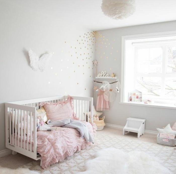 chambre en rose et gris