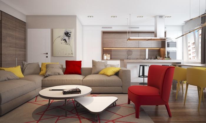 best canap couleur lin avec tapis gris motifs gomtriques rouges couleur mur et plafond blanc salon blanc et beige with salon beige et blanc