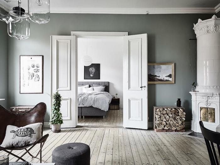 Finest Chambre Coucher Ouverte Sur Salon Parquet Gris