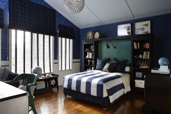 Perfect Deco Chambre Ado Garcon Papier Peint Bleu Fonc