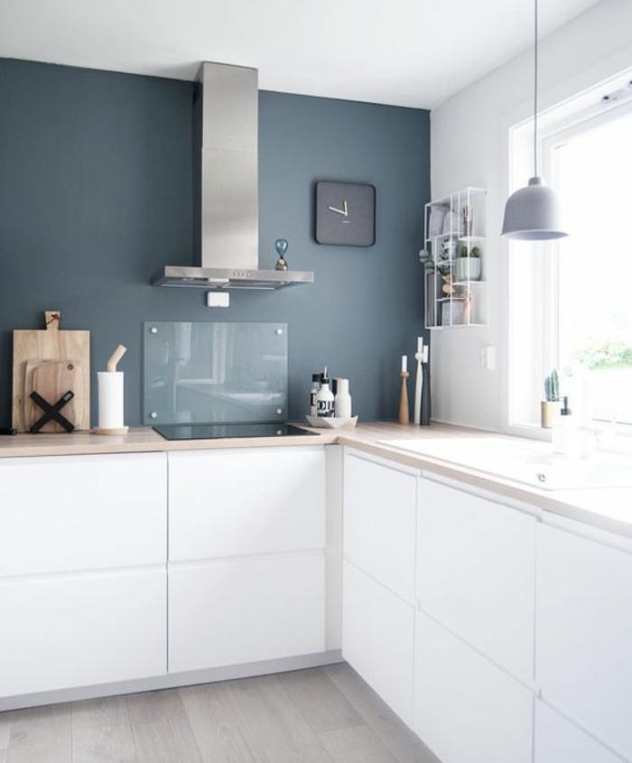 idees pour une cuisine bleu canard