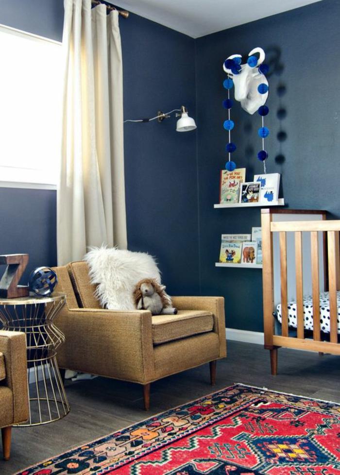 chambre bebe en bleu canard