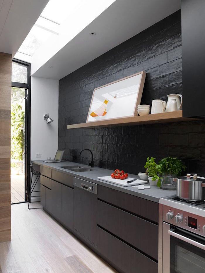 cuisine noir mat et bois