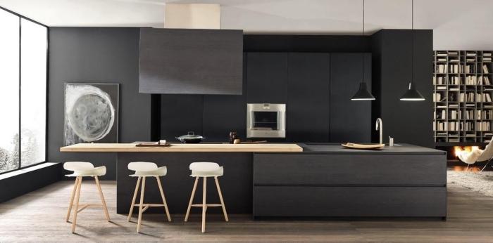 Deco Salon Noir Et Bois Elegant Excellent Cuisine Noir Et