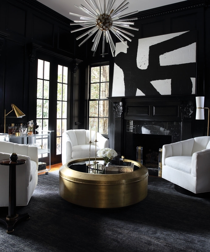 salon noir et blanc