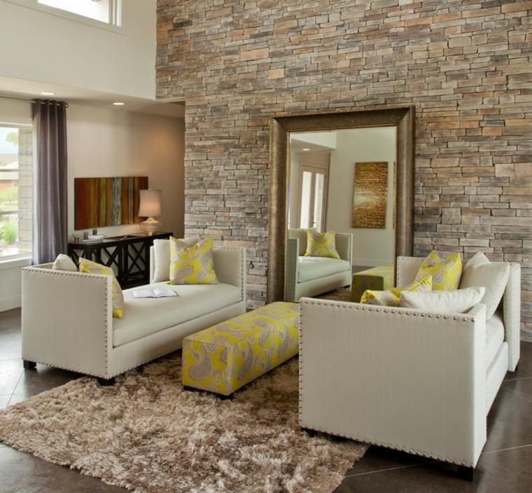Tra le tante idee per dare un nuovo look alla casa senza ristrutturare, una parete di mattoncini in soggiorno o una cucina con la parete in pietra sono soluzioni. Rivestimenti In Pietra In Soggiorno Moderno Idee Di Design E Stile