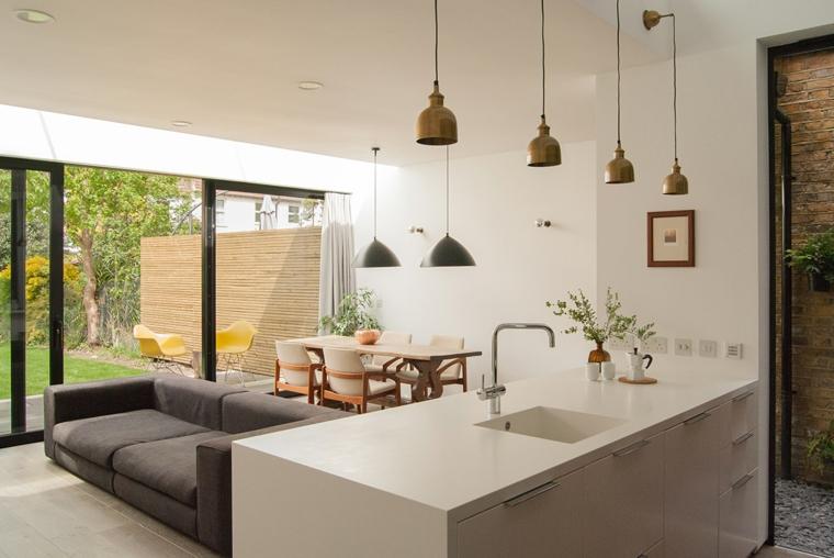 Soluzione con cappa sospesa a isola. 1001 Idee Per Cucina Open Space Dove Funzionalita E Comfort Si Uniscono Con Stile