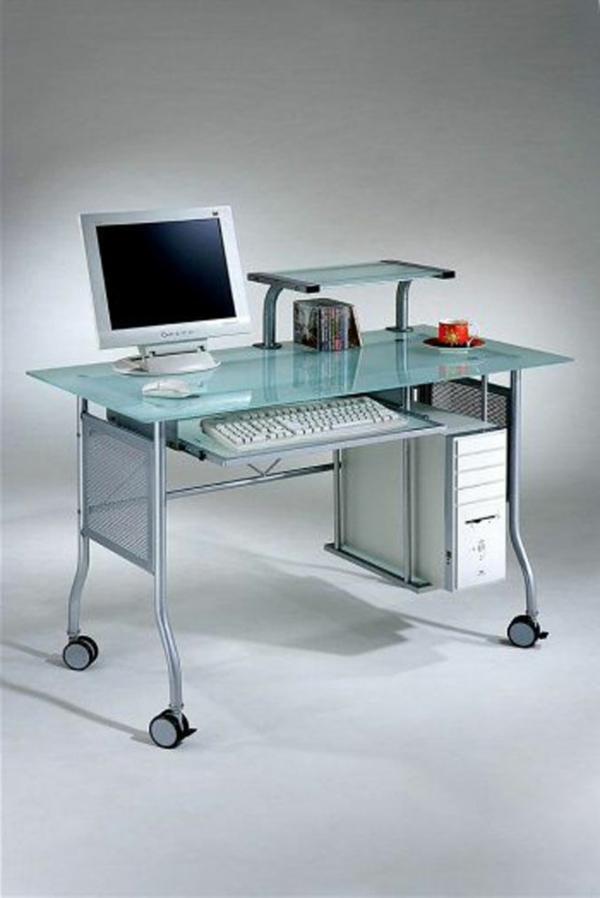 Der Computertisch Aus Glas Wirkt Sehr Schick Und Elegant