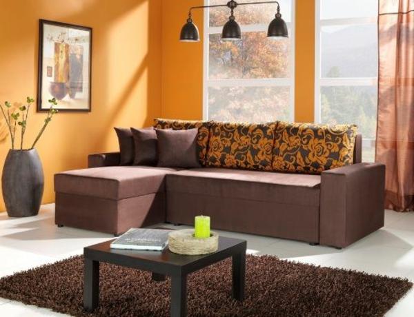 Wohnzimmer Braunes Sofa Apricot Farbe
