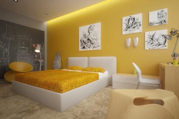 Gelbe Farbgestaltung Im Schlafzimmer 24 Fotos