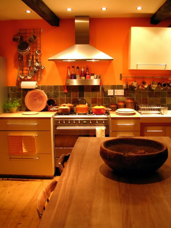 Coole Kchen Wandfarbe Gelb Orange Und Rot