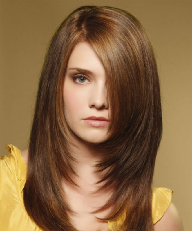 a bob hairstyle for long hair, with bangs, a beautiful girl with a yellow dress