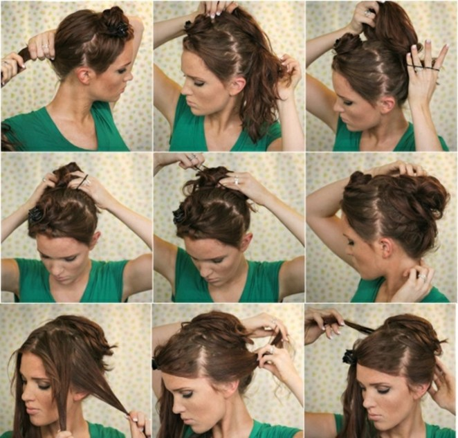 nine steps, white to create beautiful hairstyles for long hair yourself, green blouse