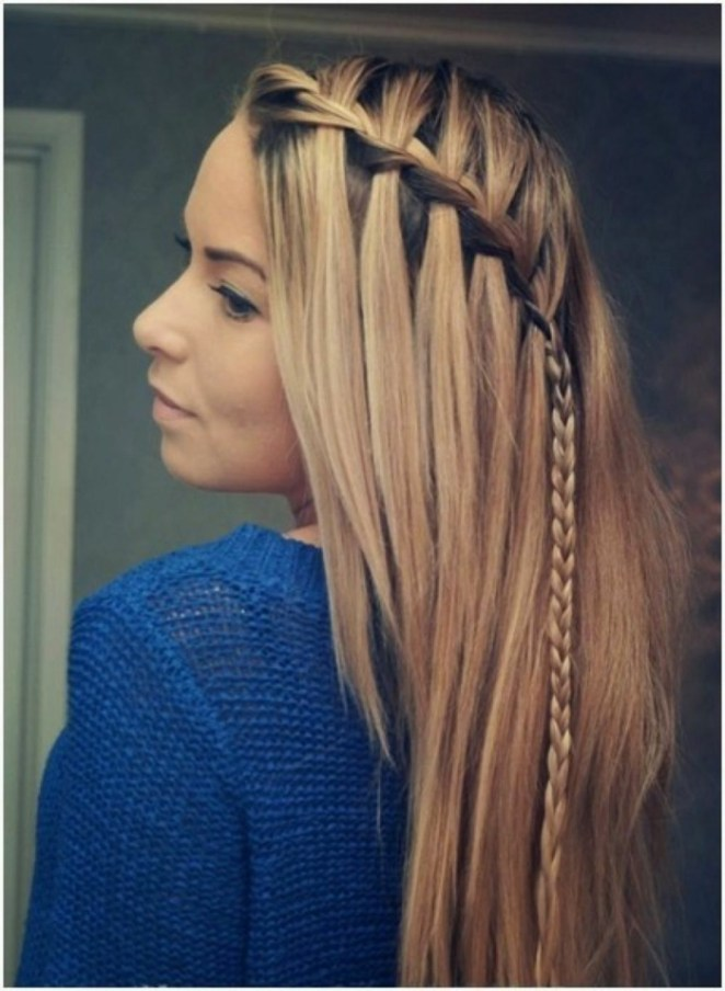 blonde hair, a braid, blue sweater, simple hairstyles for beautiful women