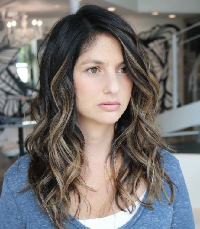black hair, casual curls, hairstyles for long hair yourself with curling iron